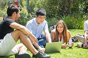 Group of language students on the lawn