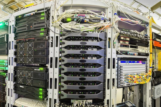 Panorama of the server room of the data centre.