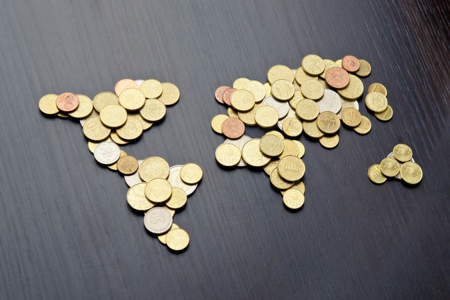 Coins laid out to represent a map