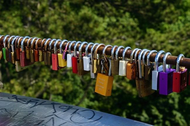 Padlocks on a rail
