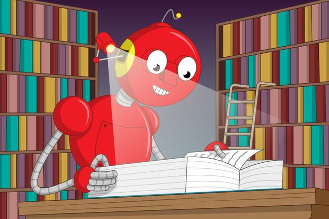 a robot studying a book of text