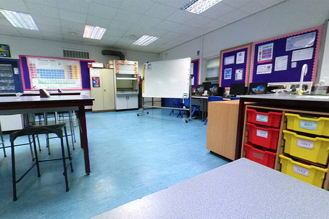 Wide angle shot of a classroom laboratory (used in the 360 tour)