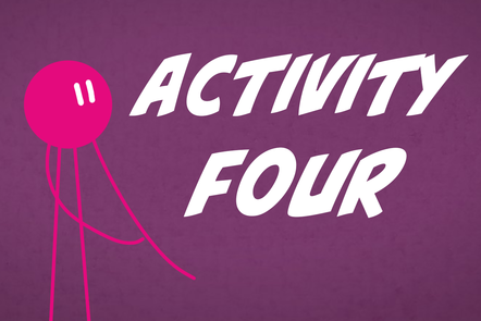 A cartoon icon of a person with 'Activity 4' written in the centre.
