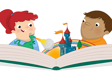 An illustration of two children reading a book with images of a dragon blowing fire onto a castle, a sun, and rainbow, all coming out of the book.
