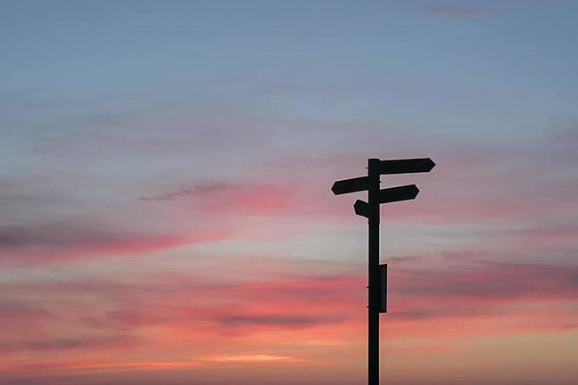 signposts pointing in different directions during a sunset