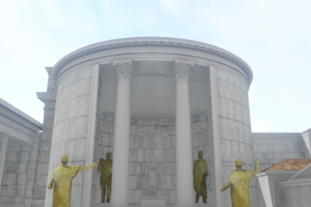 A digital recreation showing the front of a round temple with 4 statues standing on either side of the entrance.
