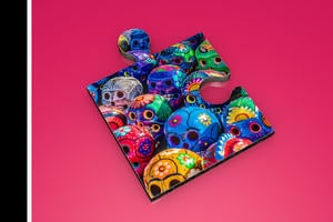 Painted skulls from the day of the dead in Mexico Dia de los Muertos