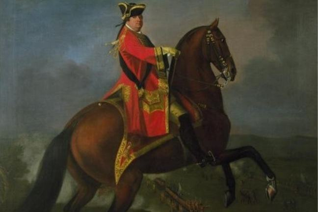 Painting depicting General H.R.H. The Prince William Augustus, Duke of Cumberland, wearing a red coat riding a brown horse, with Culloden in the background