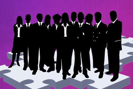 Illustration of a group of silhouetted business figures