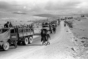 Truck convoy moving through the Negev in Operation Horev, 1948