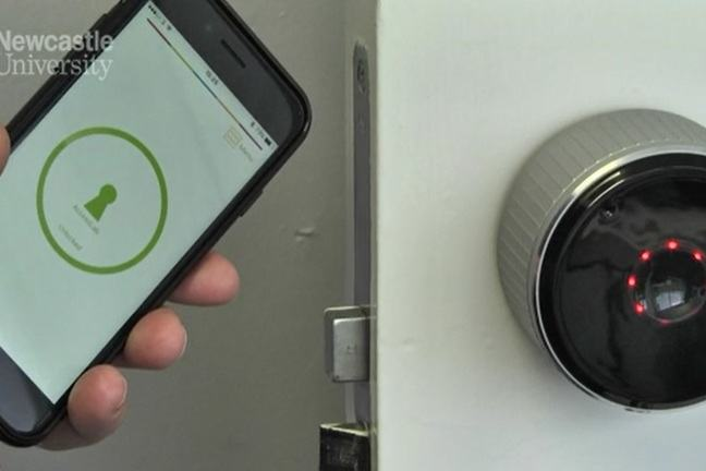 Showing how a mobile phone can be used to unlock a door.