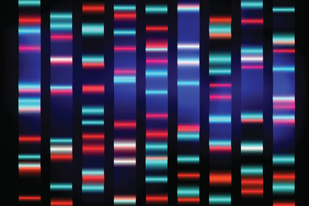 Colourful medical DNA results with black background.