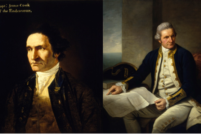 Hodges portrait on left shows Cook's head-and-shoulders, uses light and shadow to create drama. On right, Dance shows Cook in full uniform, blue, gold buttons and white breeches, grey wig or hair powdered. Cook points to his own chart of Southern Oceans.