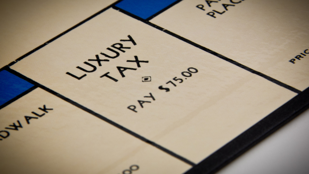 Monopoly board with Luxury Tax square