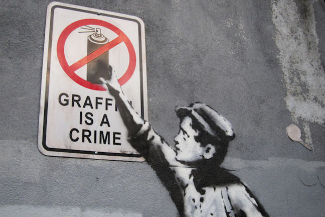 Graffiti is a crime or is it a banksy in new york