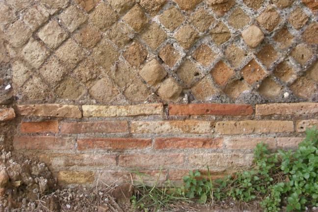 Opus reticulatum brickwork in an opus mixtum wall from the Palazzo Imperiale at Portus
