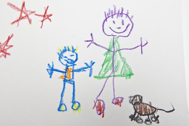 Young child's drawing of adult, child and dog