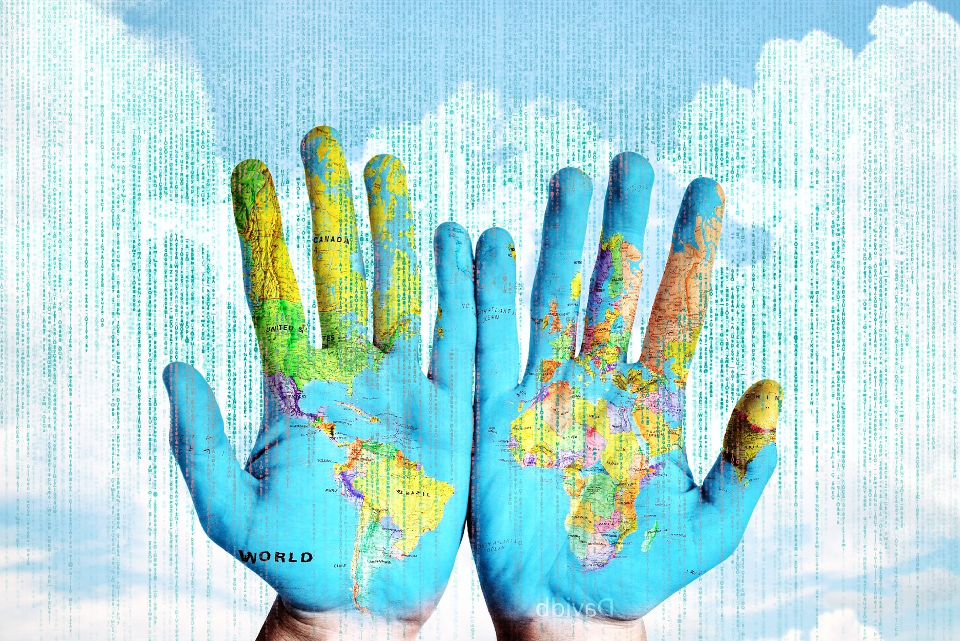 Hands with map of the world