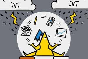 A triangular cartoon character juggling icons to do with work and life whilst balancing between two platforms. There are thunder storm clouds above.