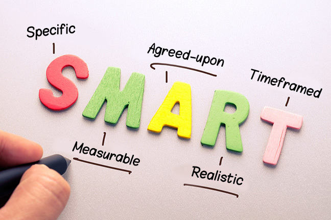 SMART: Specific, Measurable, Agreed-upon, Realistic, Timeframed