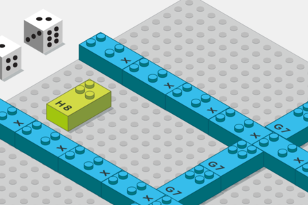 Drawing of the activity named 6-car parking lot. One base plate divided in 6 car park, 2 dice and a letter brick H.
