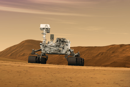 Artist's concept of NASA's Mars Science Laboratory Curiosity rover, a mobile robot for investigating Mars' past or present ability to sustain microbial life