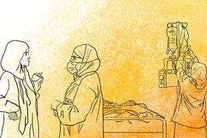 Illustration of healthcare workers in a variety of environments