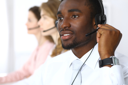 Male call handler using a headset
