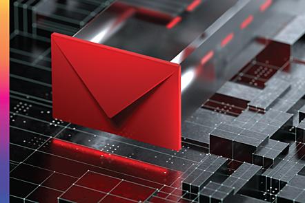 A red envelope hovering over a digital matrix of blocks