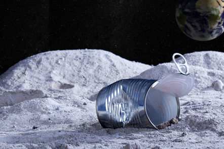 Depiction of a tin can on the moon