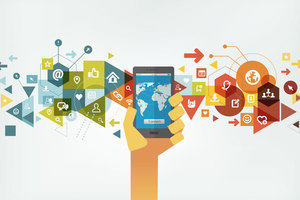 Graphic showing a mobile device and the concept of social media networks