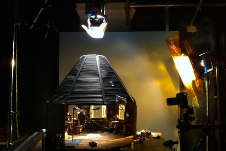 The set of the house from Miss Todd with camera and lights