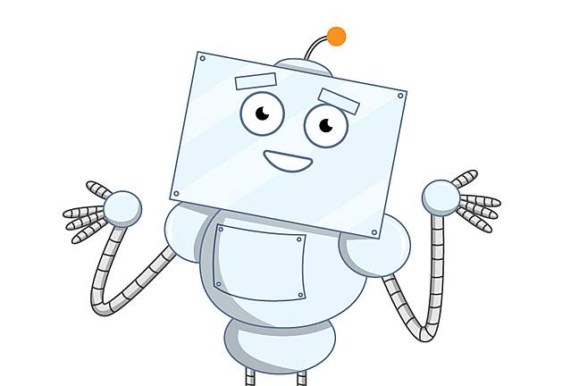 A cartoon illustration of a computer character confused and shrugging
