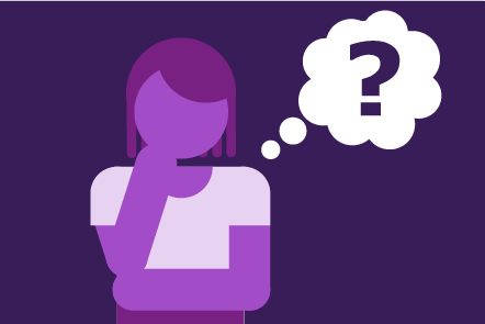 Illustration of a woman with a speech bubble emerging from her head. The speech bubble has a question mark inside it.