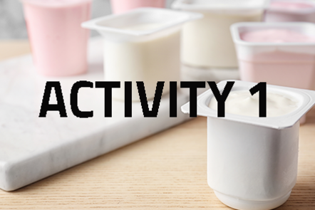 Pots of yoghurt with 'Activity 1' written over the top of the image