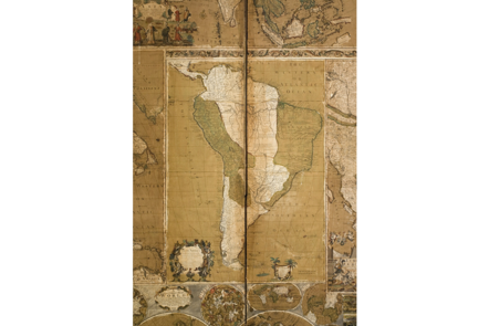 A six-fold screen, the front pasted with maps.