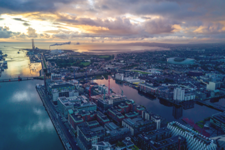 Arial view of Dublin City Docklands and Liffey