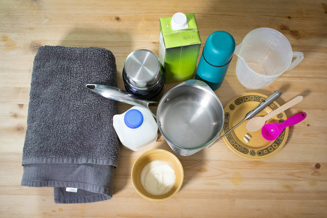A picture of the equipment required for the experiment: saucepan, milk, soy milk, flask, towel, measuring jug, measuring spoons, natural yoghurt