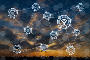 Wireless communication connecting of smart city Internet of Things Technology over Fantastic sky over the cityscape at the sunset time, technology business IOT concept