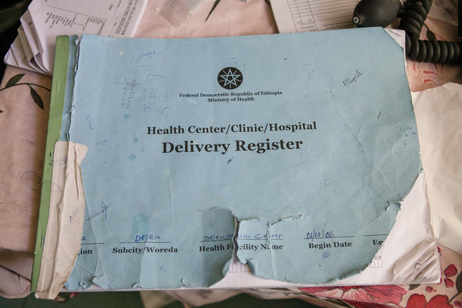 Image of a health center delivery register in Ethiopia.