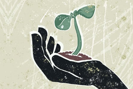 A sapling grows from a person's outstretched palm. Illustration.