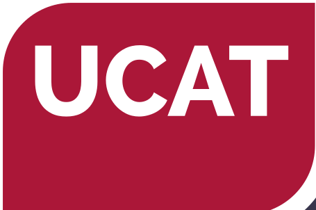 UCAT logo, red background with white writing