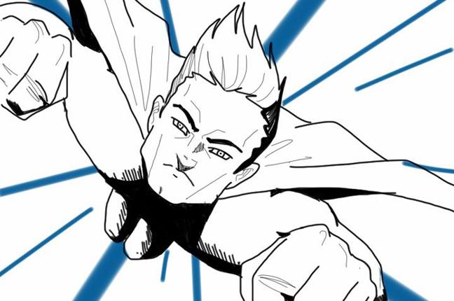 A flying superhero