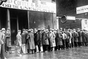 The Great Depression Unemployed men queued outside a soup kitchen opened in Chicago by Al Capone The storefront sign reads 'Free Soup' Royalty-free stock illustration ID: 238058275