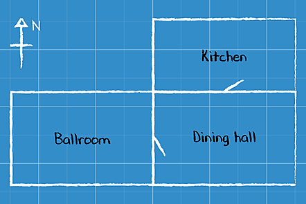 An illustration of three rooms in a blueprint