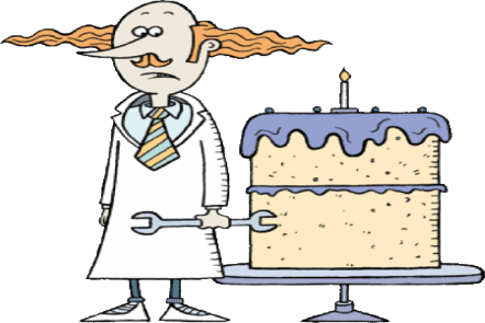 Illustration of a man with frizzy red hair standing by a big cake wearing a white lab coat and holding a spanner