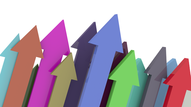 Multicoloured arrows pointing upwards