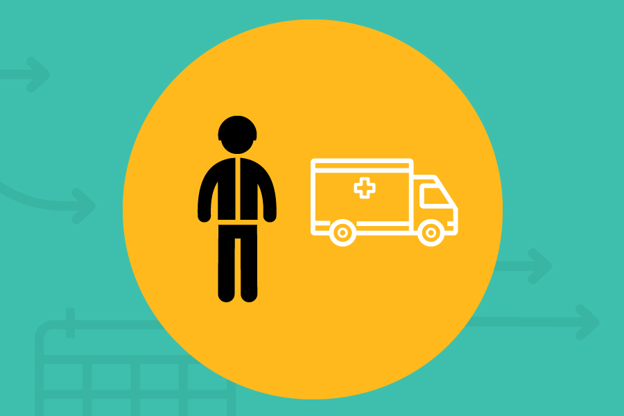 A health worker is standing beside an ambulance. A yellow circle encompasses both figures with a blue-green background.