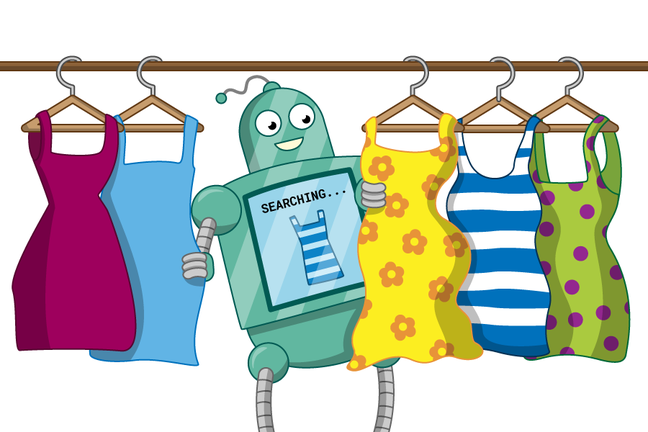 "A robot looking through five different dresses on a rail. A screen on the front of the robot says ""SEARCHING..."" and shows an image of a striped dress, matching one hung up on the rail."
