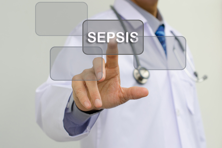 Image of a doctor touching a 'Sepsis' button on the screen